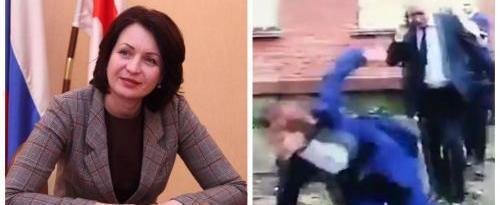 Мэр Омска Оксана Фадина упала в грязь во время объезда города (ВИДЕО)